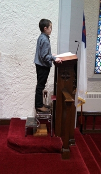 10 year-old liturgist side view