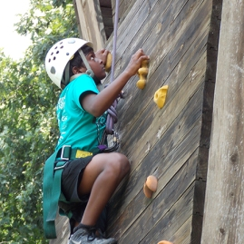 Girl on Climbing Wall