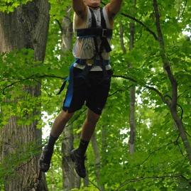 Youth in harness swing