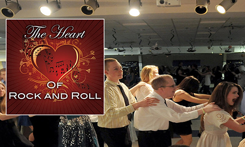 The Heart & Roll logo with youth dancing in background