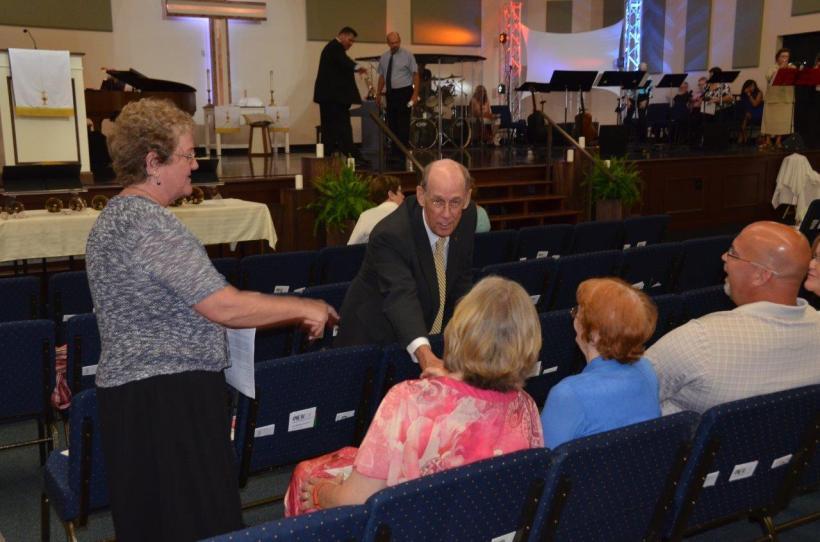 Bishop John Hopkins Greets Mary Aufrance