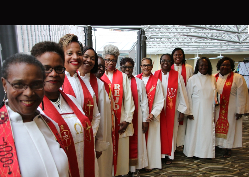Preparing for the opening worship procession at the 28th annual meeting of Black Clergy Women of The United Methodist Church