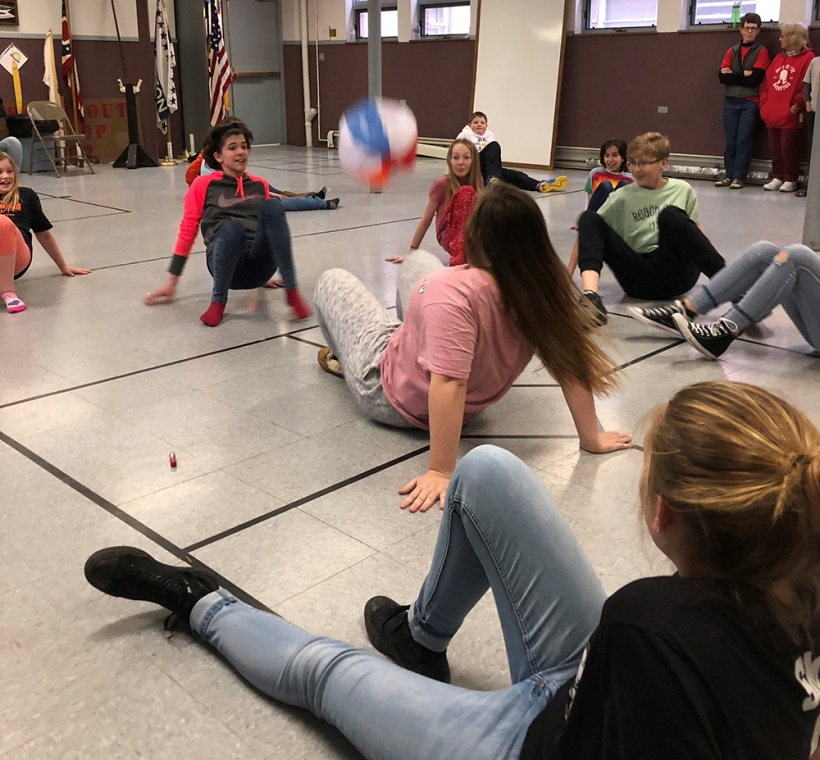 Youth playing crab soccer