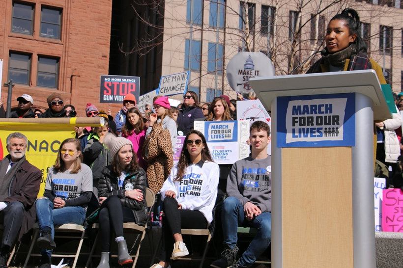 March for our Lives Rally in Cleveland, youth speaking at podium