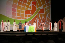 10 bishops particpated in the closing worship service
