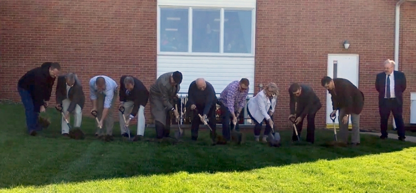 Fredricktown individuals with shovels ground breaking