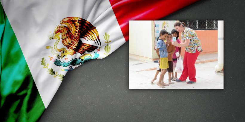 Mexican flag background with photo of mother and children in the heat