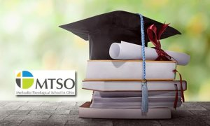 MTSO logo, Graduation cap with diploma and books