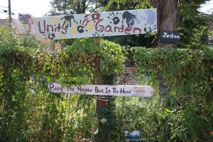 Unity garden signs in garden